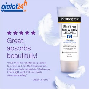 kem chống nắng neutrogena ultra sheer face & body có tốt không