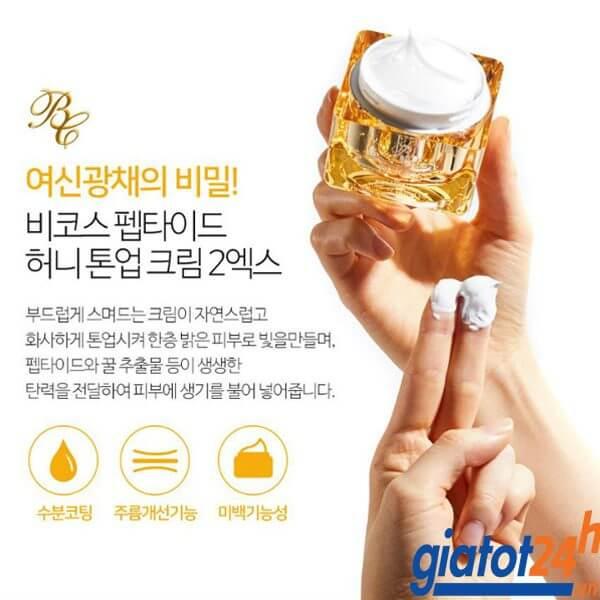kem kích trắng beicos peptide honey tone up cream 2x có tốt không